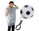 Regenponcho in einer Kunststoffkugel in Fußballoptik